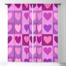 Hearts 3x3 Pinks Purples Mauves Blackout Curtain