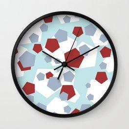 Geometric Mix Rectangle red Wall Clock