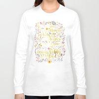 jane austen Long Sleeve T-shirts featuring Jane Austen - Intolerably Stupid Gold Foil by Evie Seo