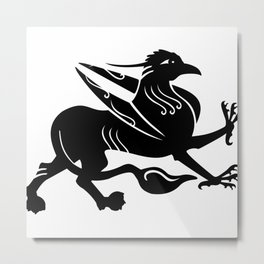 Medieval Royal Griffin Silhouette Metal Print