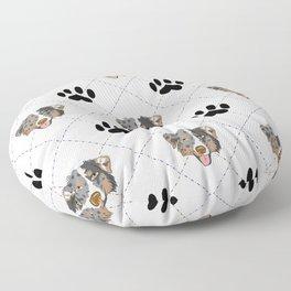Australian Shepherd Paw Print Pattern Floor Pillow