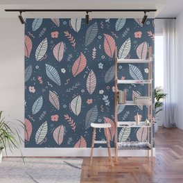 A Frolic Of Flowers And Leaves In A Perfectly Pretty Pastel Pattern Wall Mural