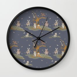 Music of The Night Nocturnal Animals Playing Instruments Insomniac Art Midnight Melody Cute Armadillo Raccoon Bat Moths A Forest Scene Repeat Pattern Muted Tones Wall Clock