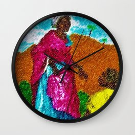 African Princess Portrait Painting by Jeanpaul Ferro Wall Clock