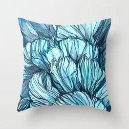 Blue Coral Lines Throw Pillow