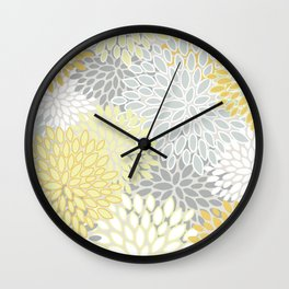 Floral Prints, Soft, Yellow and Gray, Modern Print Art Wall Clock