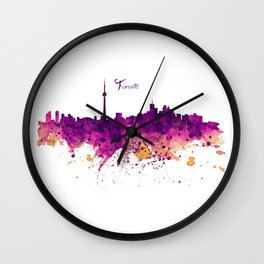 Toronto Watercolor Skyline Wall Clock