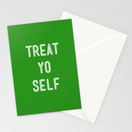 Treat Yo Self Green - Parks and Recreation Stationery Cards
