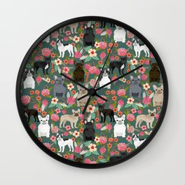 French Bulldog florals mixed coat colors dog breed pet must have gifts frenchies Wall Clock