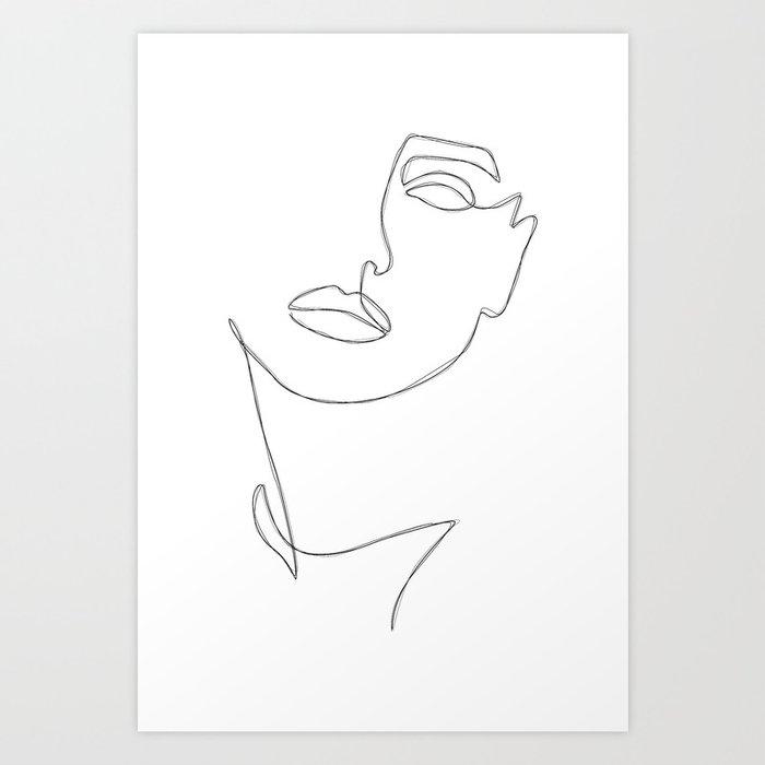 Triple Face Line Art Print