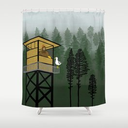 Mr Big & Gerry the Seagull from Flock of Gerrys Gerry Loves Seagulls by Seasons Kaz Sparks Shower Curtain