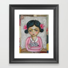 Frida Kahlo and bunny Framed Art Print