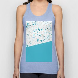 Terrazzo Texture Pacific Light Blue #5 Unisex Tank Top