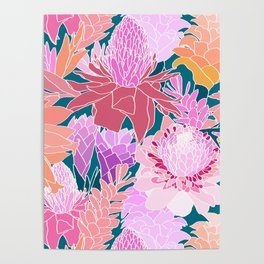 Ginger Flowers in Coral + Dark Teal Green Poster