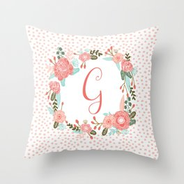 Monogram G - cute girls coral florals flower wreath, coral florals, baby girl, baby blanket Throw Pillow