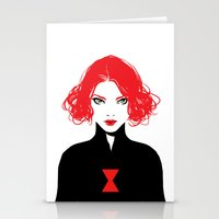 black widow Stationery Cards featuring Black Widow by Irene Flores