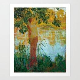 Nymphe près d'une pièce d'eau by Gaston La Touche - French Post-Impressionism Art Print