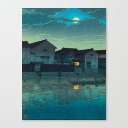 Kawase Hasui Vintage Japanese Woodblock Print Japanese Village Under Moonlight Cloudy Sky Canvas Print
