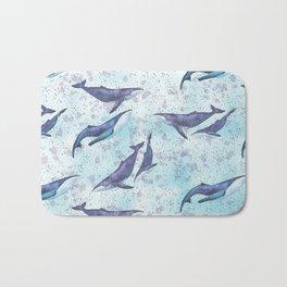 Big space whales light blue pattern Bath Mat