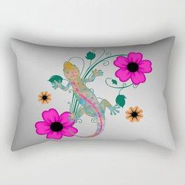 Groovy Gekko with Flowers Rectangular Pillow