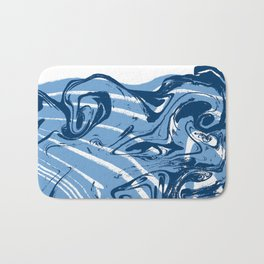 marble suminigashi spilled ink watercolor painting navy painterly abstract art Bath Mat