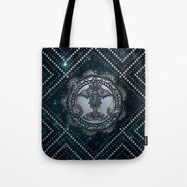Libra Zodiac Silver Embossed on the Star sky Tote Bag