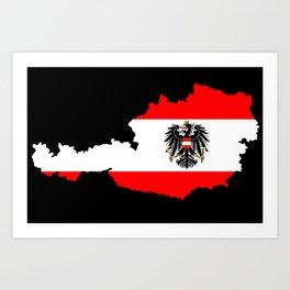 Austrian Flag and Map Art Print