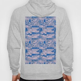 Midcentury Vacation Postcards in Pink + Blue Hoody