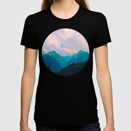 Mid Century Modern Round Circle Photo Graphic Design Colorful Pastel Mountain Landscape T-shirt