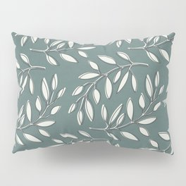 Leaves in Dark Turquoise and White Pillow Sham