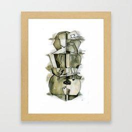 Cellist in Ink Framed Art Print