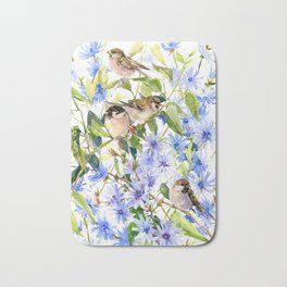 Sparrows and Chicory Flowers Bath Mat