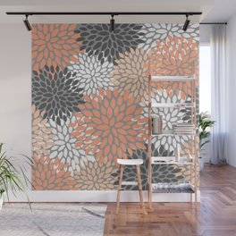 Floral Pattern, Coral, Gray, White Wall Mural