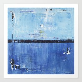 Shiver Abstract Art Blue Modern Water Painting  Art Print