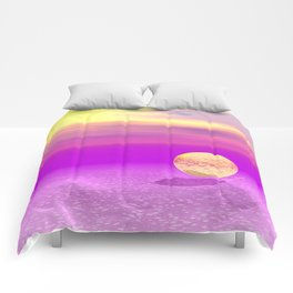 Adrift, Abstract Gold Violet Ocean Comforters