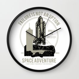 Space Adventure Failure Is Not An Option Wall Clock