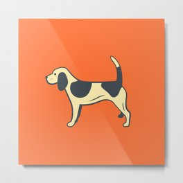 Orange Beagle Metal Print