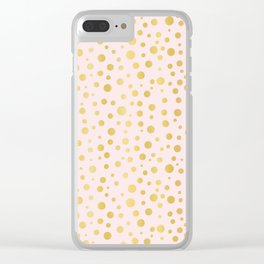 Luxe Rose Gold Polka Dots Pattern Seamless Vector, Drawn Metallic Clear iPhone Case