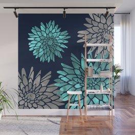 Floral Chrysanthemum Modern Navy Aqua Wall Mural