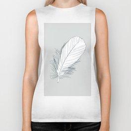 White Feather on Grey Background Illustration Biker Tank