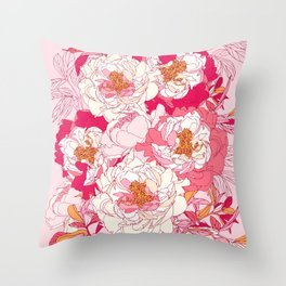 Pink flowers of peonies Throw Pillow
