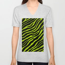 Ripped SpaceTime Stripes - Lime Yellow Unisex V-Neck