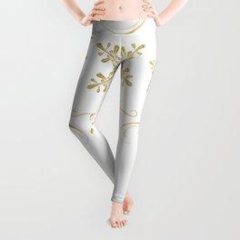 Ornate Golden Snowflakes Leggings