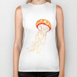 orange jellyfish watercolor Biker Tank