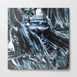 Abstract Chrome Silver Paint I Metal Print