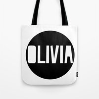charmaine olivia Tote Bags featuring Olivia by Amy Lovesowls