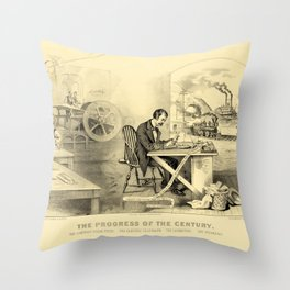 The Progress of the Century (Currier & Ives) Throw Pillow