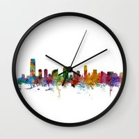 new jersey Wall Clocks featuring Jersey City New Jersey Skyline by artPause