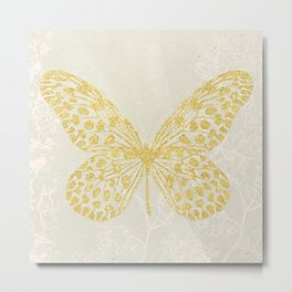 Gold Glitter on Old Paper - Butterfly Metal Print