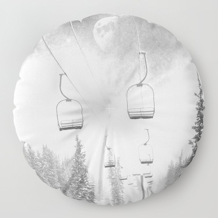 Chairlift Moon Break // Riding the Mountain at Copper Colorado Luna Sky Peeking Foggy Clouds Floor Pillow
